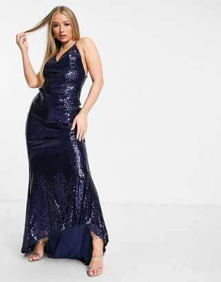 Club L London Club L low back sequin cami maxi dress with fishtail in navy