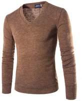 Bestgift Men's Long Sleeve Simple V-Neck Cotton Sweater M