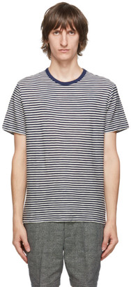Officine Generale Navy and Off-White Striped T-Shirt