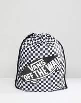 Vans Checkerboard Drawstring Bag In Black V00SUF56M