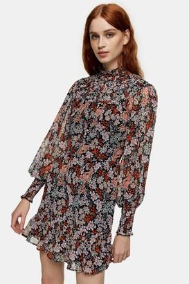 Topshop Floral Print Yoke Ruched Mini Dress