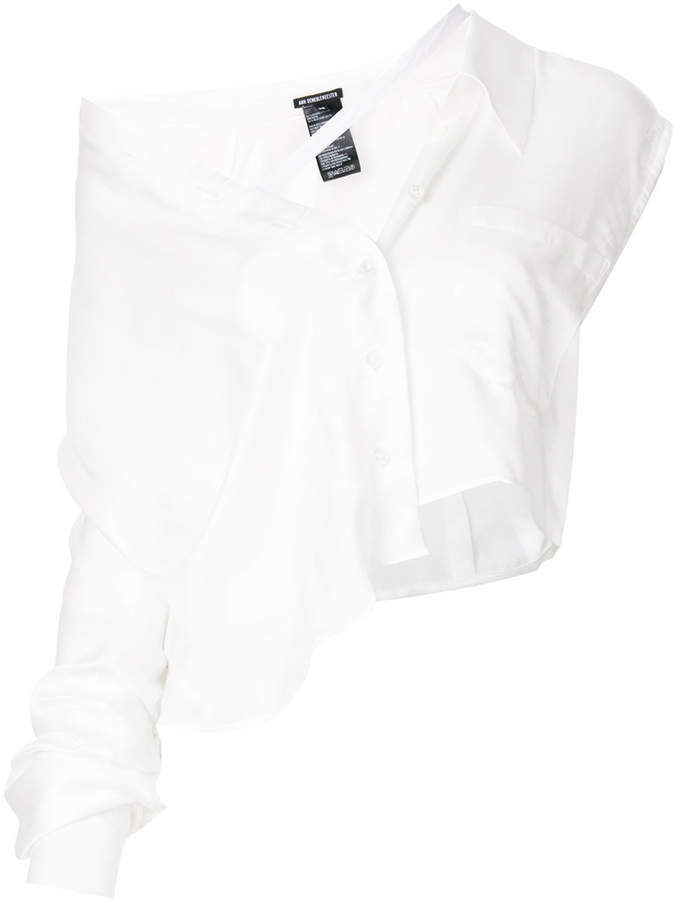Ann Demeulemeester asymmetric tied strap shirt