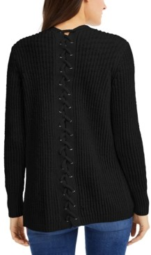 INC International Concepts Inc Lace-Back Completer Sweater, Created for Macy's
