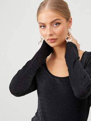 Very Sparkle Lurex Long Sleeve Top - Silver