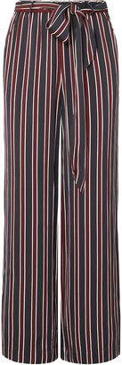 Frame Easy Belted Striped Charmeuse Wide-leg Pants