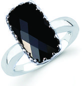 Black Onyx Sterling Silver Vintage Multi-Prong Solitaire Ring by Boston Bay Diamonds