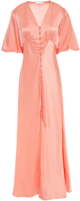 Olivia von Halle Delphine Ruched Silk And Cotton-blend Satin Maxi Dress