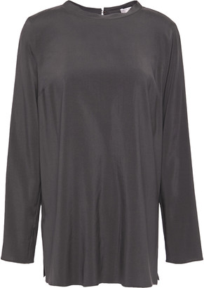 Brunello Cucinelli Bead-embellished Stretch Silk Crepe De Chine Blouse