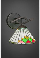 "Toltec Lighting Toltec Revo Wall Sconce in Dark Granite with 7"" Green Sunray Tiffany Glass"