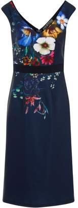 Dorothy Perkins Womens *Little Mistress Navy Floral Print Wiggle Bodycon Dress