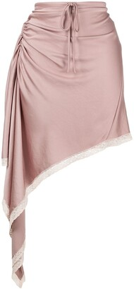 alexanderwang.t Gathered Lace-Trim Skirt
