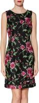 Gina Bacconi Elisa Floral Embroidered Dress, Black/Pink
