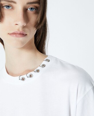 The Kooples White T-shirt in cotton with piercing