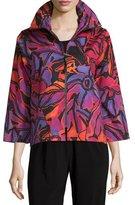 Caroline Rose Zip-Front Samba-Print Jacket, Multi/Black, Petite