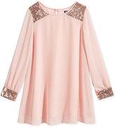Sequin Hearts Sequined Long-Sleeve Dress, Big Girls (7-16)