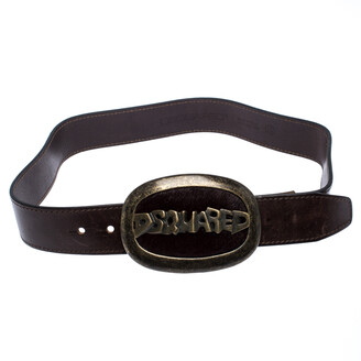 DSQUARED2 Brown Leather Oval Logo with Fur Plaque Buckle Belt Small
