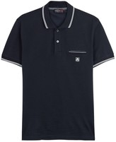 Corneliani Navy Embroidered Piqué Cotton Polo Shirt