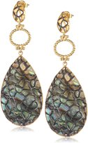 "Azaara Filigree"" 22k Gold-Plated Sterling Silver and Abalone Shell Drop Earrings"
