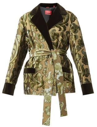F.R.S For Restless Sleepers F.R.S – For Restless Sleepers Giocasta Floral Velvet-devore Wrap Jacket - Womens - Green Multi