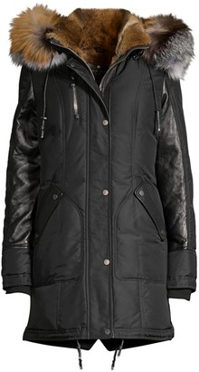 Nicole Benisti Chelsea Intarsia Fur Lined Puffer Jacket