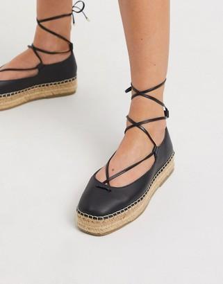 ASOS DESIGN Jenny tie leg leather espadrilles in black