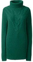 Lands' End Women's Lofty Cable Turtleneck Tunic Sweater-Black