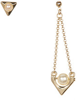 French Connection Mismatched Simulated Pearl Drop Earrings