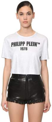 Philipp Plein 23 Crystal Cropped Cotton Jersey T-shirt
