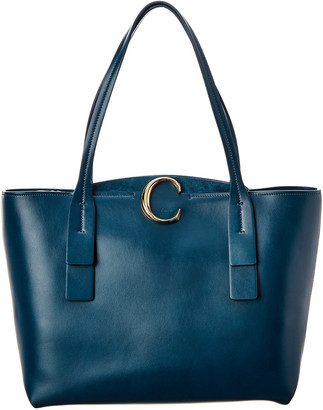 Chloé C Medium Zipped Leather & Suede Tote