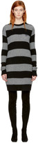 McQ Grey & Black Punk Stripe Swallow Sweater Dress