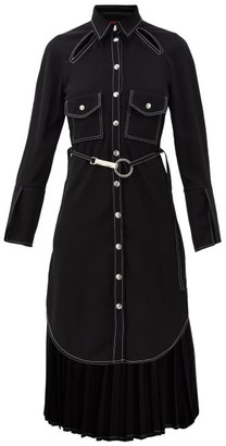 Thebe Magugu Belted Topstitched Crepe Dress - Black