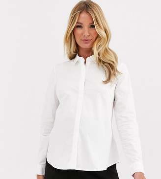ASOS DESIGN Maternity long sleeve fitted shirt in stretch cotton in white