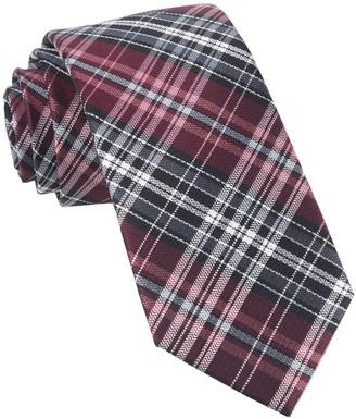 Tie Bar Motley Plaid Burgundy Tie