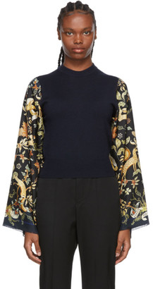 Lanvin Navy Silk Printed Sleeve Sweater