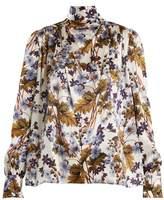 Erdem Inessa neck-tie floral-print silk blouse