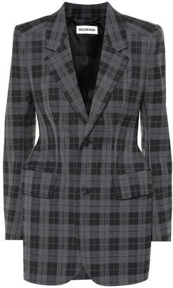 Balenciaga Hourglass checked wool-blend blazer