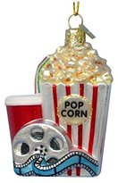 Kurt Adler Glass Noble Gems Popcorn And Movie Christmas Ornament
