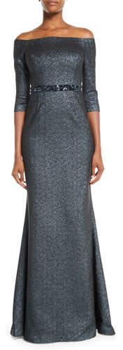 Rickie Freeman For Teri Jon Off-the-Shoulder Metallic Jacquard Gown w/ Beaded Waist