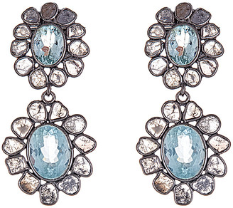 Forever Creations Usa Inc. Forever Creations Silver 10.00 Ct. Tw. Diamond & Aquamarine Earrings