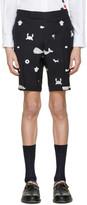 Thom Browne Navy Multi Icon Funmix Side Tab Shorts