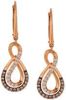 LeVian Le Vian® Chocolatier Diamond Drop Infinity Earrings (1/2 ct. t.w.) in 14k Rose Gold