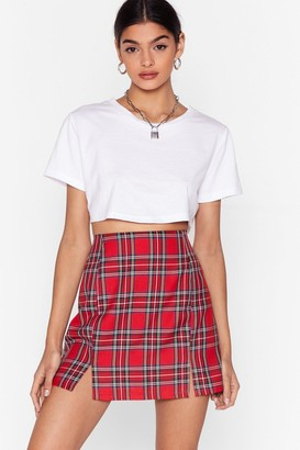 Nasty Gal Womens Tartan as We Mean to Go On Mini Skirt - red - 8