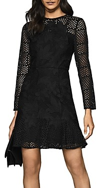 Reiss Baptiste Illusion Lace Fit & Flare Dress
