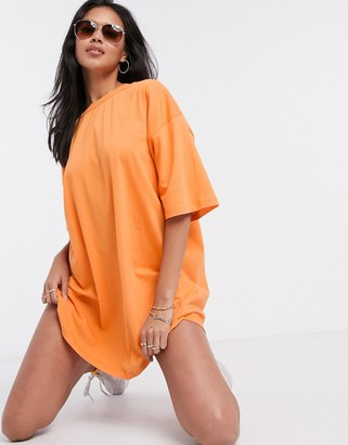 ASOS DESIGN oversized t-shirt dress in bright orange