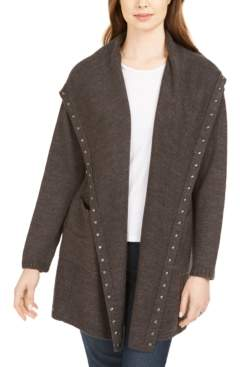 Style&Co. Style & Co Petite Hooded Studded Cardigan, Created For Macy's