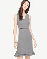 Ann Taylor Houndstooth Flounce Sheath Dress