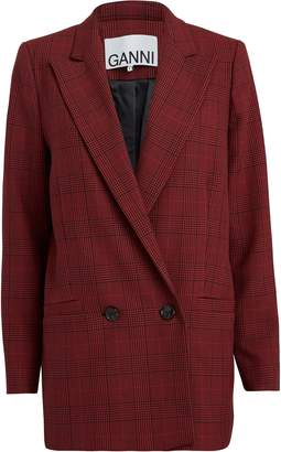 Ganni Samba Checked Suiting Blazer