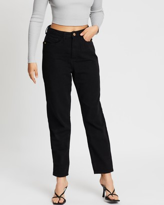 Missguided Petite Riot Gold Button Mom Jean