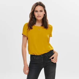 Only Round-Neck Blouse with Drop Back