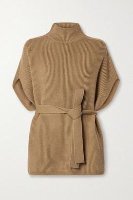 Max Mara Leisure Fulmine Belted Ribbed Wool Turtleneck Poncho - Tan